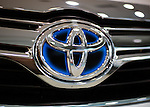November 5, 2014, Tokyo, Japan - (FILE PHOTO) A file photo shows a Toyota logo on a vehicle at the Toyota Motor Corporation showroom in Tokyo, Japan on August 5, 2014. Toyota posted its operating income of 1.3519 trillion yen in which the company revised its forecast to 2.50 trillion yen from 2.30 trillion yen. (Photo by AFLO)
