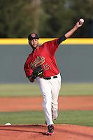 Andrew Barbosa #21 of the Visalia Rawhide pitches against the Stockton Ports at Rawhide Ballpark on May 5, 2014 in Visalia California. Visalia defeated Stockton, 8-6. (Larry Goren/Four Seam Images)