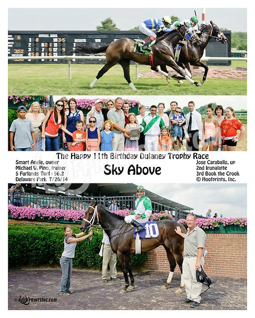 Sky Above winning Dulaney Doro's 11th Birthday race at Delaware Park on 7/26/14