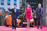 Art Marcum and his companion Jenny, Marc Butan, and Michael Shamberg walk the Red Carpet event at the World Celebrity Pro-Am 2016 Mission Hills China Golf Tournament on 20 October 2016, in Haikou, China. Photo by Victor Fraile / Power Sport Images