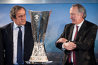 Il Presidente UEFA Michel Platini e il Presidente della FIGC Giancarlo Abete si guardano durante la cerimonia di consegna dell'Europa League a Palazzo Madama di Torino  Europa League Trophy Handover <br /> Uefa President Michel Platini and Italian football federation president Giancarlo Abete attend the Europa League Trophy handover ceremony<br /> <br /> Torino 16/04/2014   Football Calcio   Foto Giorgio Perottino / Insidefoto