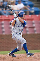 Anthony Seratelli #44 of the Wilmington Blue Rocks follows through on his swing versus the Winston-Salem Dash at Wake Forest Baseball Stadium June 14, 2009 in Winston-Salem, North Carolina. (Photo by Brian Westerholt / Four Seam Images)