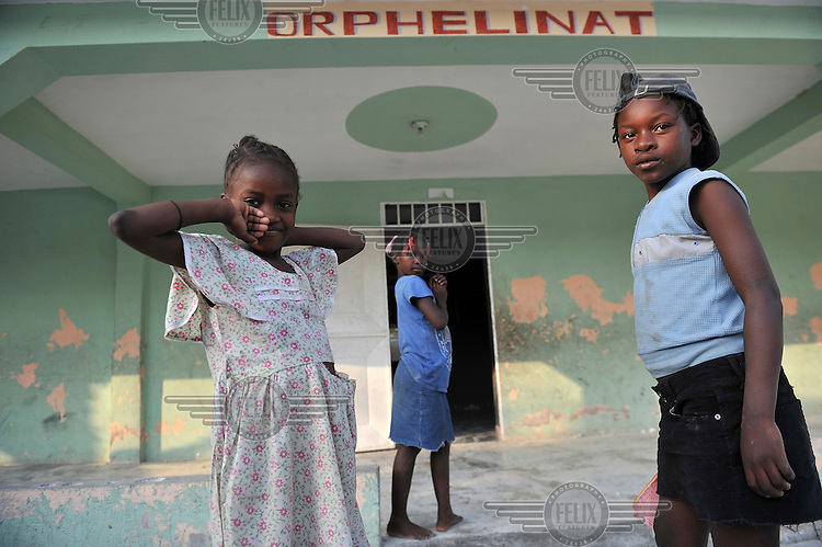 Girls at the Ebenezer Foundation Orphanage in Croix Besbouquets, which is run by the Global Orphan Project. .Many children were orphaned when an 7.0 magnitude earthquake struck Haiti on 12/01/2010. Early reports indicated that more than 100,000 may have been killed and three million affected.
