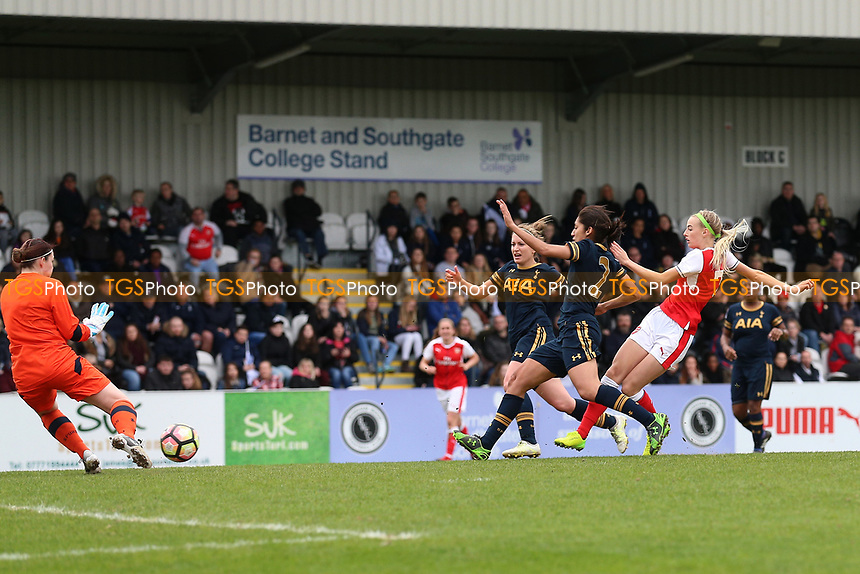 Chloe Kelly of Arsenal scores the seventh goal for her team and celebrates during Arsenal Ladies vs Tottenham Hotspur Ladies, SSE Women's FA Cup Football at Meadow Park on 19th March 2017