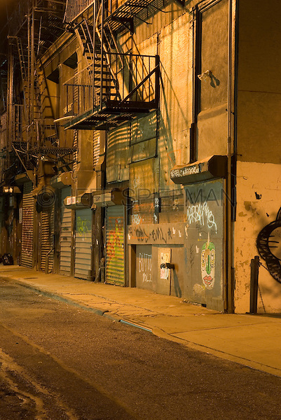 Mysterious Urban Street Scene at Night, Lower Manhattan ...