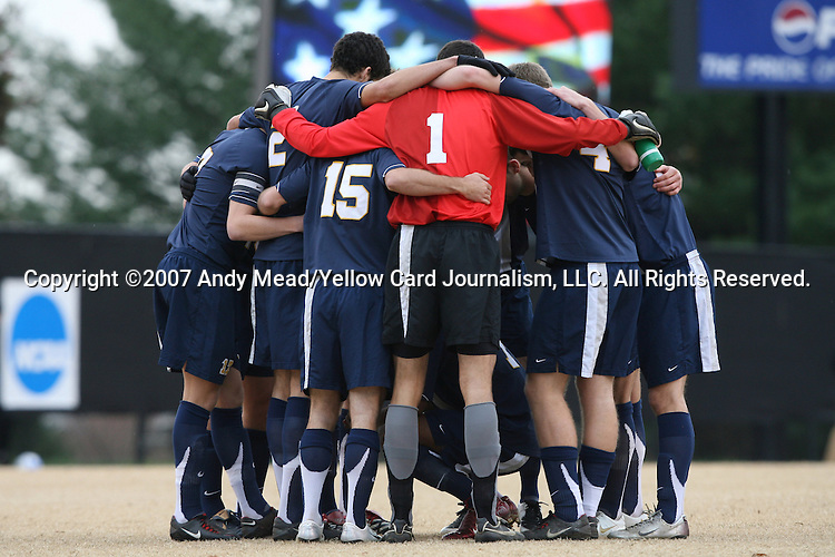 02 December 2007: West Virginia's starters huddle up before the game. The Wake Forest University Demon Deacons defeated the West Virginia University Mountaineers 3-1 at W. Dennie Spry Soccer Stadium in Winston-Salem, North Carolina in a Third Round NCAA Division I Mens Soccer Tournament game.