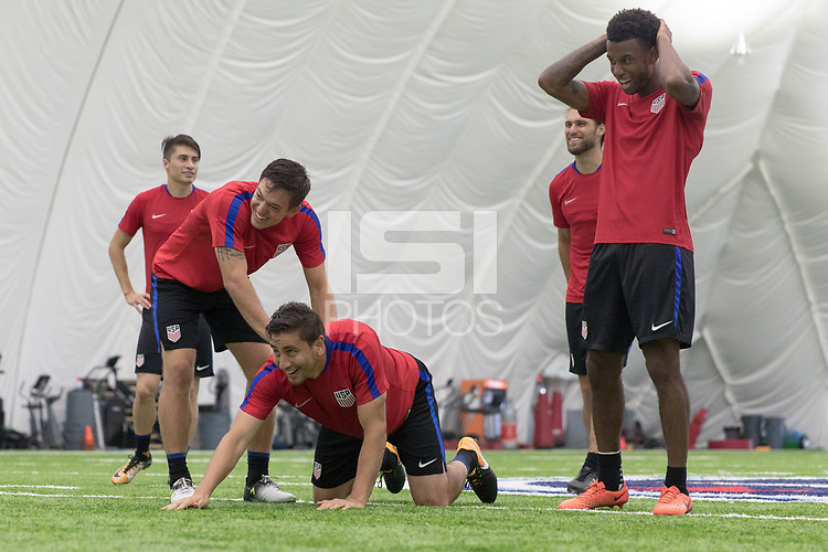 Nashville, TN - July 5, 2017: Kelyn Rowe, Graham Zusi, Alejandro Bedoya and Kellyn Acosta during Training Titans Practice Facility prior to their 2017 Gold Cup.
