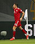12.08.2018, Commerzbank - Arena, Frankfurt, GER, Supercup, Eintracht Frankfurt vs FC Bayern M&uuml;nchen , <br />DFL REGULATIONS PROHIBIT ANY USE OF PHOTOGRAPHS AS IMAGE SEQUENCES AND/OR QUASI-VIDEO.<br />im Bild<br />Robert Lewandowski (M&uuml;nchen) freut sich &uuml;ber das Tor zum 1:0<br /> <br /> Foto &copy; nordphoto / Bratic