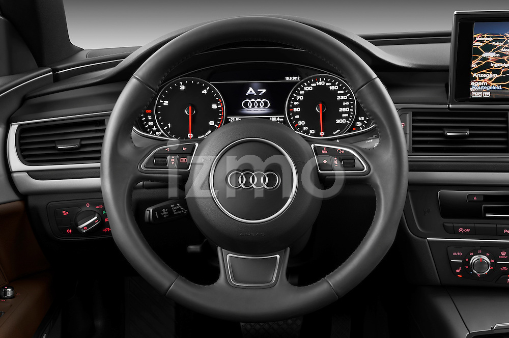Steering wheel view of a 2013 Audi A7 Hatchback