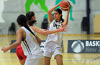Action from the 2019 Schick AA National Girls' Secondary Schools Basketball Championships 5th place playoff between Sacred Heart Girls' College New Plymouth and Queen Margaret College at the Central Energy Trust Arena in Palmerston North, New Zealand on Saturday, 5 October 2019. Photo: Dave Lintott / lintottphoto.co.nz