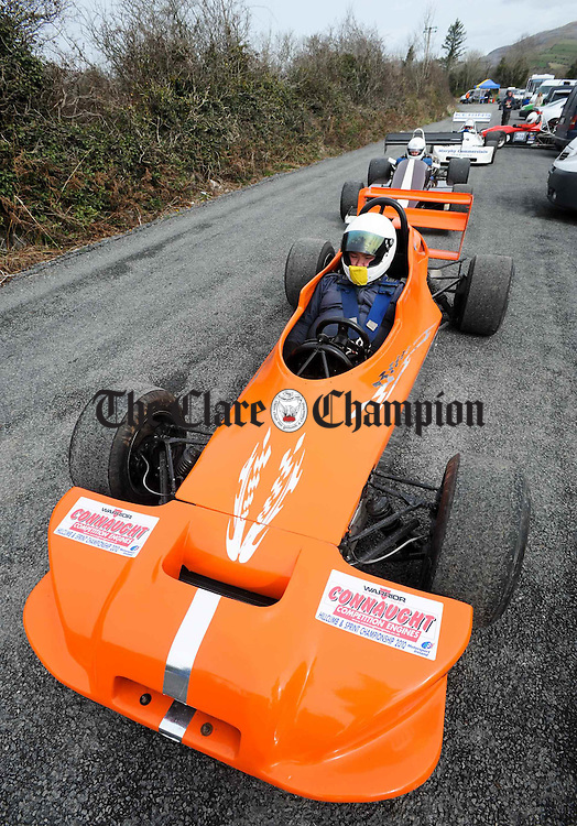 Brendan Harper of Wexford gets in line to take part  at Scalp Hill Carron during one of the opening two rounds of the Connaught Competition Engines Irish Hillclimb & Sprint Championship on the annual Clare Motor Club Hillclimb Weekend. Photograph by John Kelly.