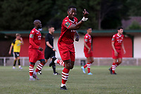 Chris Dickson of Hornchurch scores the first goal for his team and celebrates during Hornchurch vs Margate, BetVictor League Premier Division Football at Hornchurch Stadium on 13th August 2019
