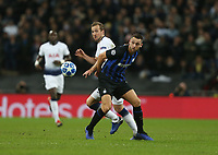 Tottenham Hotspur's Harry Kane and Internazionale's Stefan de Vrij <br /> <br /> Photographer Rob Newell/CameraSport<br /> <br /> UEFA Champions League Group B - Tottenham Hotspur v Internazionale - Wednesday 28th November 2018 - Wembley Stadium - London<br />  <br /> World Copyright &copy; 2018 CameraSport. All rights reserved. 43 Linden Ave. Countesthorpe. Leicester. England. LE8 5PG - Tel: +44 (0) 116 277 4147 - admin@camerasport.com - www.camerasport.com