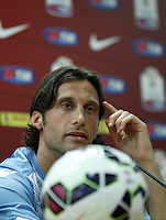 Calcio, Tim Cup: il capitano della Lazio Stefano Mauri durante la conferenza stampa alla vigilia della finale contro la Lazio, allo stadio Olimpico di Roma, 19 maggio 2015.<br /> Italy football Italian Cup: Lazio's captain Stefano Mauri attends a press conference on the eve of the final match against Lazio, at Rome's Olympic stadium, 19 May 2015.<br /> UPDATE IMAGES PRESS/Isabella Bonotto