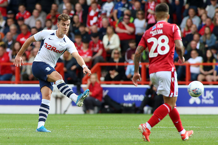 Preston North End's Josh Harrop aims a shot towards goal<br /> <br /> Photographer David Shipman/CameraSport<br /> <br /> The EFL Sky Bet Championship - Nottingham Forest v Preston North End - Saturday 31st August 2019 - The City Ground - Nottingham<br /> <br /> World Copyright © 2019 CameraSport. All rights reserved. 43 Linden Ave. Countesthorpe. Leicester. England. LE8 5PG - Tel: +44 (0) 116 277 4147 - admin@camerasport.com - www.camerasport.com