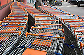 Shopping trolleys outside a Sainsbury's store at the O2 centre, Finchley Road, London.
