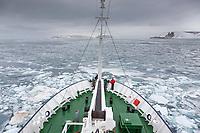 Polar pioneer ice breaker in the pack ice in the Svalbard archipelago.