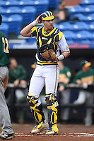 Michigan Wolverines catcher Drew Lugbauer (17) during the second game of a doubleheader against the Siena Saints on February 27, 2015 at Tradition Field in St. Lucie, Florida.  Michigan defeated Siena 6-0.  (Mike Janes/Four Seam Images)