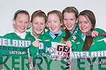 COLOURS: Showing off their true colours at the uner 16 International Soccer between Ireland and Germany at Pat Kennedy Park, Listowel, on Thursday l-r: Siu?n Healy,Ashling Grimes,Shannon Canty, Oliva Scanlan and Niamh Stack. .   Copyright Kerry's Eye 2008