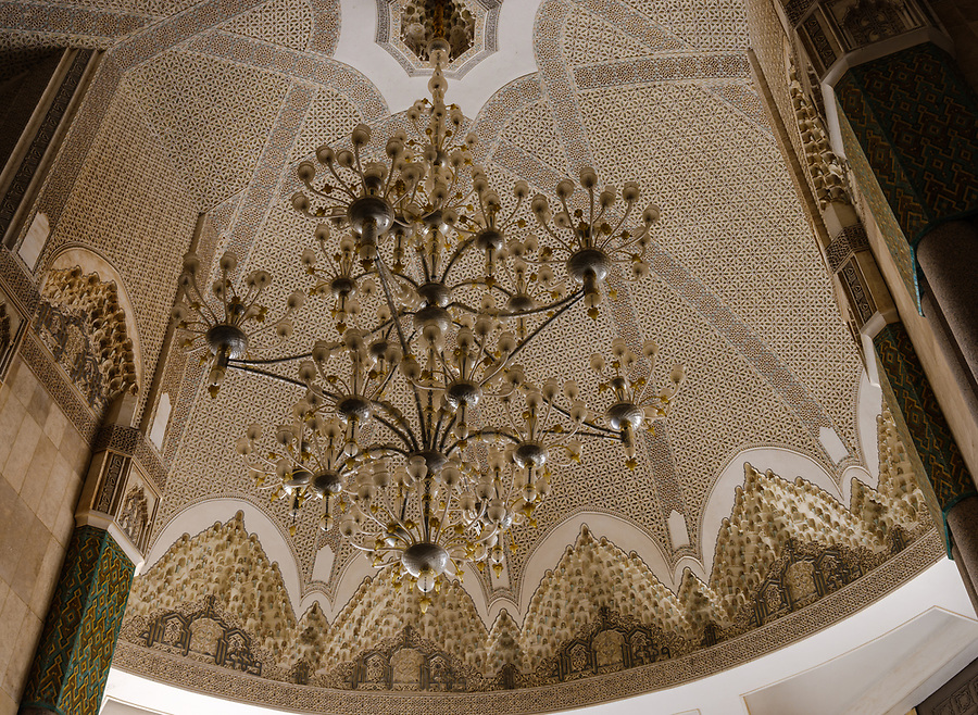 CASABLANCA, MOROCCO - CIRCA APRIL 2017: Detail of chandelier at the Mosque Hassan II  in Casablanca.