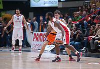 VALENCIA, SPAIN - 05/12/2014. Jenkins del Estrella Roja y Vives del Valencia Basket durante el partido. Pabellon Fuente de San Luis, Valencia, Spain.