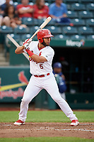 Springfield Cardinals catcher Gabriel Lino (5) at bat during a game against the Corpus Christi Hooks on May 31, 2017 at Hammons Field in Springfield, Missouri.  Springfield defeated Corpus Christi 5-4.  (Mike Janes/Four Seam Images)