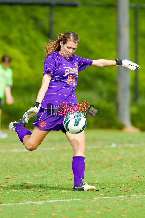 Sydney Branson (24) of the Clemson Tigers take a goal kick against the Wake Forest Demon Deacons at Spry Soccer Stadium on September 30, 2012 in Winston-Salem, North Carolina.  The Demon Deacons defeated the Tigers 4-0.  (Brian Westerholt/Sports On Film)