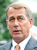 Washington, DC - October 6, 2009 -- United States House Republican Leader John Boehner (Republican of Ohio) makes remarks after meeting United States President Barack Obama on the U.S. strategy in Afghanistan on Tuesday, October 6, 2009..Credit: Ron Sachs / Pool via CNP