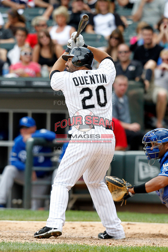 Chicago White Sox Carlos Quentin #20 during a game against the Kansas City Royals at U.S. Cellular Field on August 14, 2011 in Chicago, Illinois.  Chicago defeated Kansas City 6-2.  (Mike Janes/Four Seam Images)