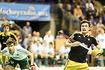 Berlin, Germany, January 31: During the 1. Bundesliga Herren Hallensaison 2014/15 semi-final hockey match between Harvestehuder HTC(black/yellow) and HTC Uhlenhorst Muehlheim (white/green) on January 31, 2015 at the Final Four tournament at Max-Schmeling-Halle in Berlin, Germany. Final score 6-3 (2-2). (Photo by Dirk Markgraf / www.265-images.com) *** Local caption ***