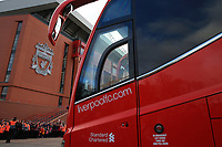 1st February 2020; Anfield, Liverpool, Merseyside, England; English Premier League Football, Liverpool versus Southampton; the Liverpool team bus arrives at the stadium prior to the match