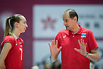 Head coach Ushakov Konstantin (R) of Russia gives instruction to  Opposite spiker Anna Lazareva (L) of Russia during the FIVB Volleyball World Grand Prix - Hong Kong 2017 match between Japan and Russia on 23 July 2017, in Hong Kong, China. Photo by Yu Chun Christopher Wong / Power Sport Images