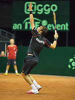 September 12, 2014, Netherlands, Amsterdam, Ziggo Dome, Davis Cup Netherlands-Croatia, Mate Delic (CRO)<br /> Photo: Tennisimages/Henk Koster