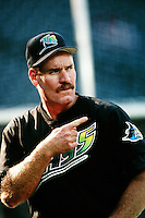 Wade Boggs of the Tampa Bay Devil Rays during a game against the Anaheim Angels at Angel Stadium circa 1999 in Anaheim, California. (Larry Goren/Four Seam Images)