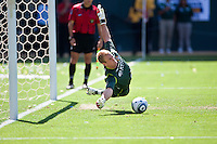 CARSON, CA – July 24, 2011: Manchester City goalie Joe Hart (25) makes a save during the shoot out in the match between LA Galaxy and Manchester City FC at the Home Depot Center in Carson, California. Final score Manchester City FC 1 and LA Galaxy 1. Manchester City wins shoot out 7, LA Galaxy 6.