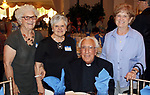 WATERBURY CT. 17 July 2017-071717SV09-From left, Marianne Gibbons of Naugatuck, Jean Cipollone of Waterbury, Father Carmen Raneri of Bristol and Sister Theresa Fonti of Hartford, attend a dinner to honor the retiring Rev. Ronald Ferraro at La Bella Vista in Waterbury Monday. After 57 years of service, the Rev. Ferraro will retire as pastor of Our Lady of Lourdes Church, where he has served since 1990.<br /> Steven Valenti Republican-American