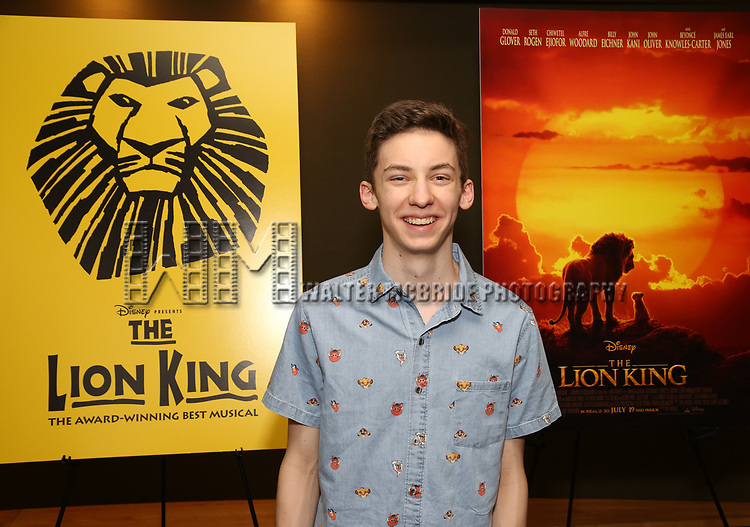 """Andrew Barth attends the Broadway screening of the Motion Picture Release of """"The Lion King"""" at AMC Empire 25 on July 15, 2019 in New York City."""