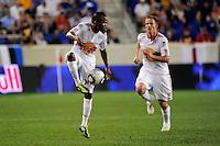 Dane Richards (19) of the New York Red Bulls. The New York Red Bulls defeated Toronto FC 5-0 during a Major League Soccer (MLS) match at Red Bull Arena in Harrison, NJ, on July 06, 2011.