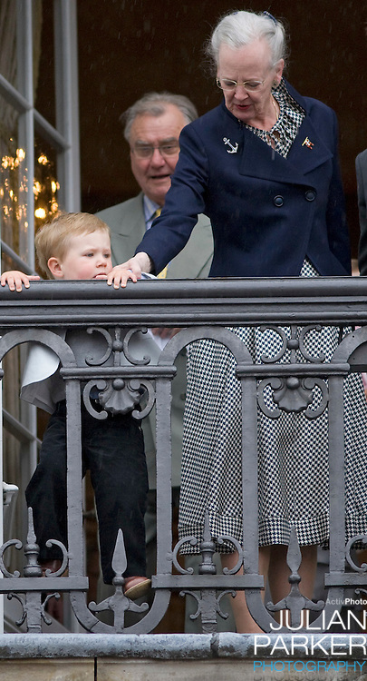 Queen Margrethe and Prince Christian at Amalienborg palace in Copenhagen for Prince Frederik's 40th birthday celebrations.