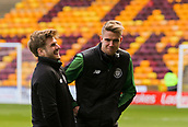18th March 2018, Fir Park, Motherwell, Scotland; Scottish Premiership football, Motherwell versus Celtic;  Stuart Armstrong and Kris Ajer share a joke before the match as they inspect the pitch