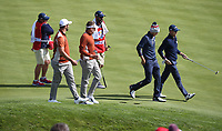 Ian Poulter (Team Europe) &amp; Jon Rahm (Team Europe) stalk Justin Thomas (Team USA) and Jordan Spieth (Team USA) during Saturday's Fourballs, at the Ryder Cup, Le Golf National, &Icirc;le-de-France, France. 29/09/2018.<br /> Picture David Lloyd / Golffile.ie<br /> <br /> All photo usage must carry mandatory copyright credit (&copy; Golffile | David Lloyd)
