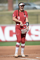 NWA Democrat-Gazette/ANDY SHUPE<br /> Arkansas starter Autumn Storms laughs Wednesday, April 10, 2019, before pitching against Wichita State during the first inning at Bogle Park in Fayetteville. Visit nwadg.com/photos to see more photographs from the game.