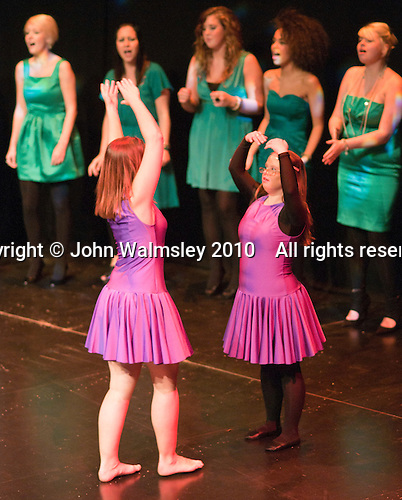 "Katherine Morland and choreographer, Hannah Greenslade, dancing to ""The Flame of Hope"" sung by the ACM Gospel Choir.  Special Olympics Surrey put on a show,   ""Beyond the Stars"", at the Rose Theatre, Kingston upon Thames to raise money for the  SOGB team.  The Special Olympics are for athletes with learning disabilities."