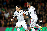 Real Madrid's Cristiano Ronaldo (l) and Sergio Ramos celebrate goal during Copa del Rey - King's Cup semifinal second match.February 26,2013. (ALTERPHOTOS/Acero) /Nortephoto