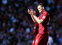 Liverpool's Andrew Robertson acknowledges the fans at the final whistle<br /> <br /> Photographer Rich Linley/CameraSport<br /> <br /> The Premier League - Liverpool v Wolverhampton Wanderers - Sunday 12th May 2019 - Anfield - Liverpool<br /> <br /> World Copyright © 2019 CameraSport. All rights reserved. 43 Linden Ave. Countesthorpe. Leicester. England. LE8 5PG - Tel: +44 (0) 116 277 4147 - admin@camerasport.com - www.camerasport.com