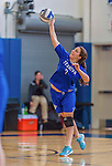 26 October 2014: Yeshiva University Maccabee Setter Aliza Muller, a Junior from Los Angeles, CA, serves against the Maritime College Privateers, at the College of Mount Saint Vincent, in Riverdale, NY. The Privateers defeated the Maccabees 3-0 in the NCAA Division III Women's Volleyball Skyline matchup. Mandatory Credit: Ed Wolfstein Photo *** RAW (NEF) Image File Available ***