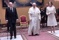 Pope Francis   during a meeting Spain's King Juan Carlos  and Queen Sofia  at the end of their private audience at the Vatican. on April 28, 2014