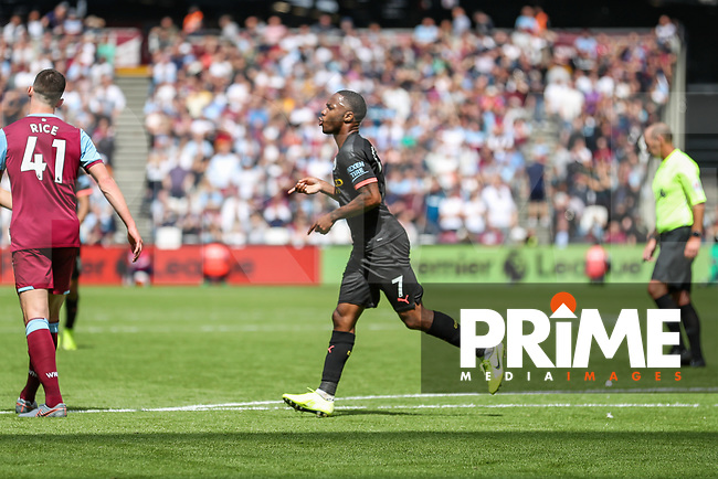 GOAL - Raheem Sterling of Manchester City celebrates after he scores his team's third goal during the Premier League match between West Ham United and Manchester City at the London Stadium, London, England on 10 August 2019. Photo by David Horn.