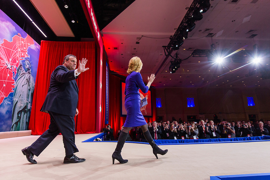 NJ Governor Chris Christie arrives with talk show host Laura Ingraham to speak at the 2015 Conservative Political Action Conference (CPAC) outside Washington, DC