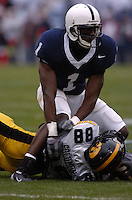 23 October 2004:  Penn State CB Anwar Phillips (1)...Iowa defeated Penn State 6-4  October 23, 2004 at Beaver Stadium in State College, PA....